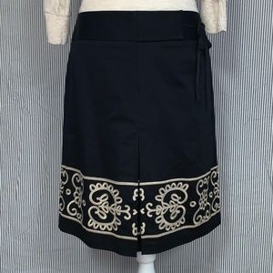 Ann Taylor LOFT Scroll Embroidered Faux Wrap Skirt